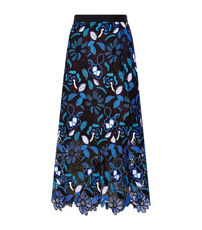 e9238d8cd5fba Self-Portrait 'Garden' Floral Guipure Lace Midi Skirt In Colalt Llue ...