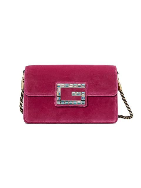 4478b1855020 Gucci Broadway Crystal-G Velvet Cross-Body Bag In Red   ModeSens