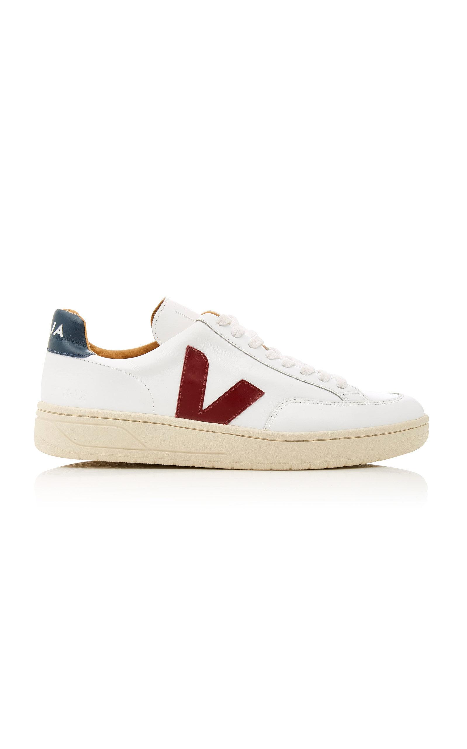 Veja Bastille Two-Tone Leather Sneakers In White