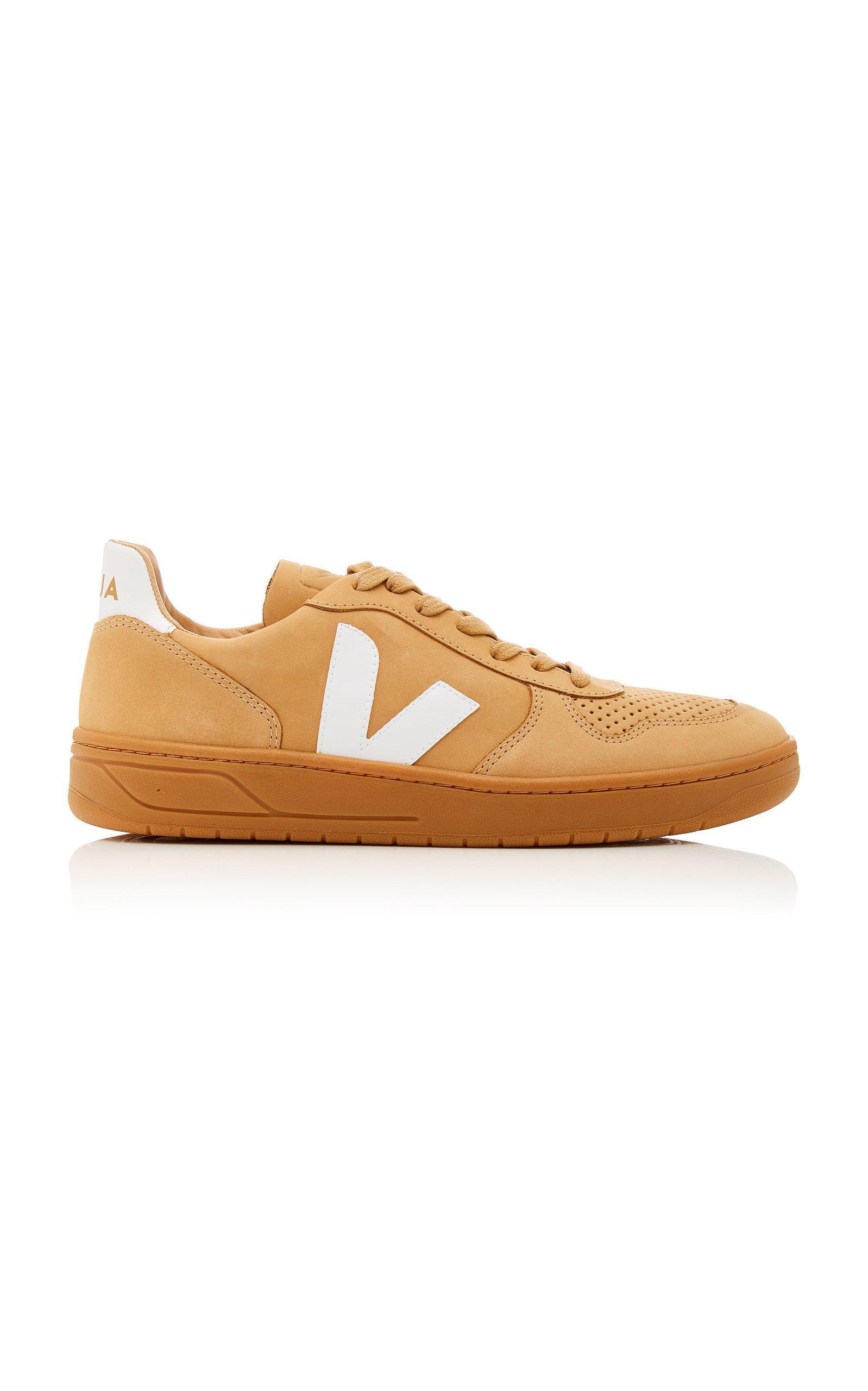 Veja Bastille Two-Tone Leather-Trimmed Nubuck Sneakers In Desert White