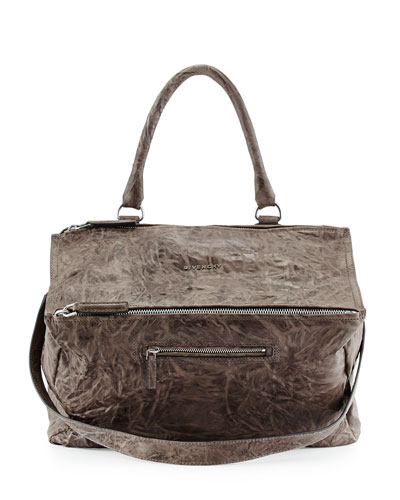 Givenchy Pandora Small Washed Leather Satchel In Charcoal