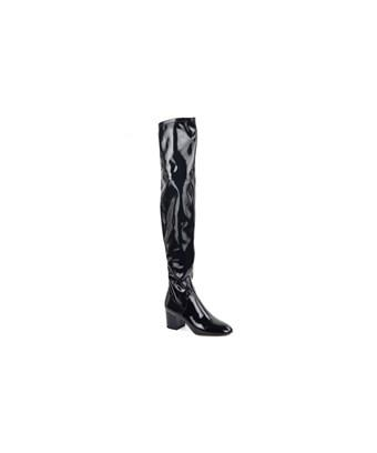 Valentino Round Toe Patent Leather Over-The-Knee High Boots In Black