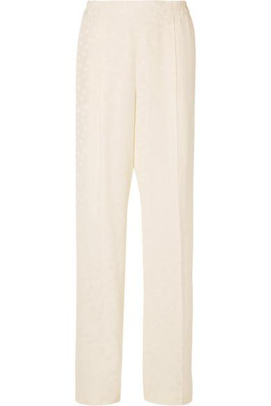Stella Mccartney Floral-Jacquard Wide-Leg Pants In Ivory