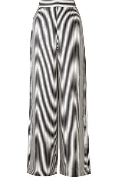 Zimmermann Striped Satin-Twill Wide-Leg Pants In Charcoal