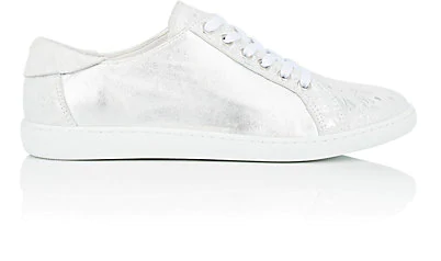 Barneys New York Metallic Leather & Suede Sneakers In Silver