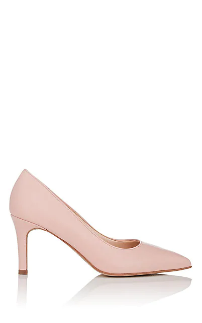 Barneys New York Leather Pumps In Nudeflesh