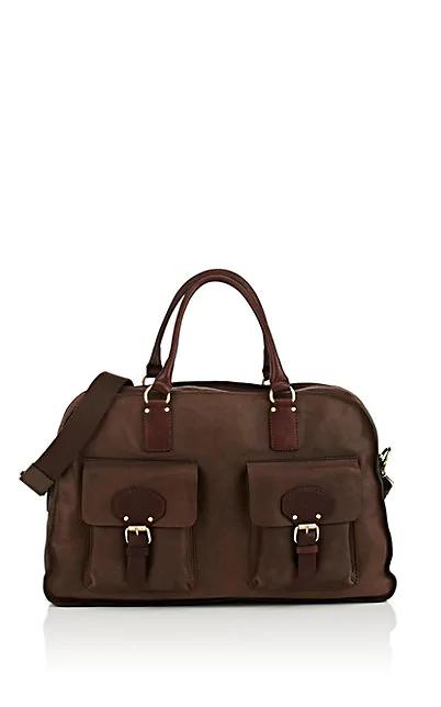 Barneys New York Leather Duffel Bag - Brown