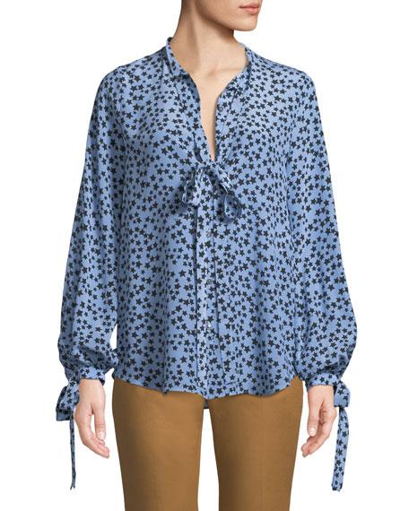 N°21 Star-Print Tie-Neck Silk Button-Front Shirt In Blue Pattern