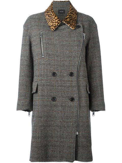 Isabel Marant 'friso' Checked Contrast-collar Coat - Grey