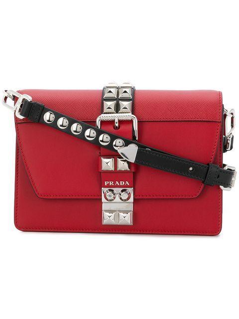 Prada Elektra Studded Crossbody Bag In Red