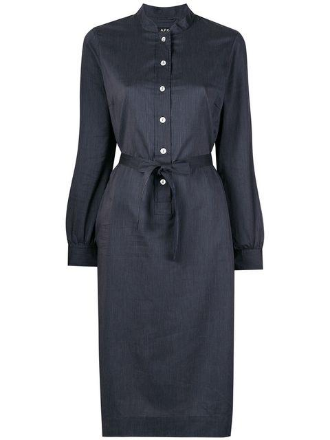 A.p.c. Anne Cotton Dress In Blue