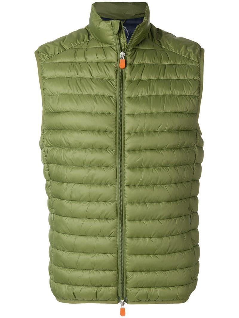 Save The Duck Quilted Nylon Padded Gilet In Green