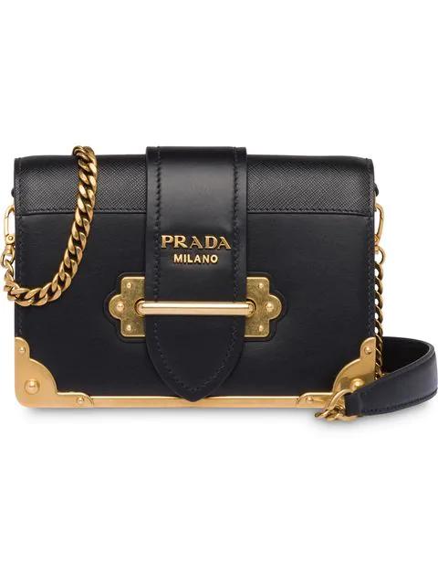 Prada Cahier Mini Shoulder Bag In Black
