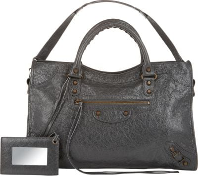 Balenciaga Arena Leather Classic City Bag In Black