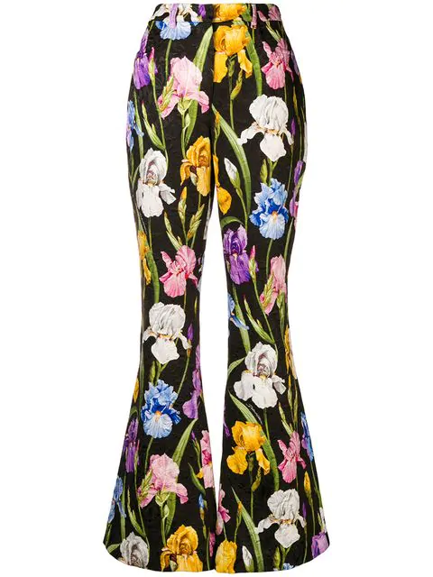 Dolce & Gabbana Iris Print Flared Trousers In Black