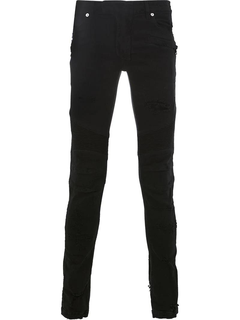 fc2a1226fa8 Balmain Distressed Biker Jeans - Black In 176 Noir | ModeSens