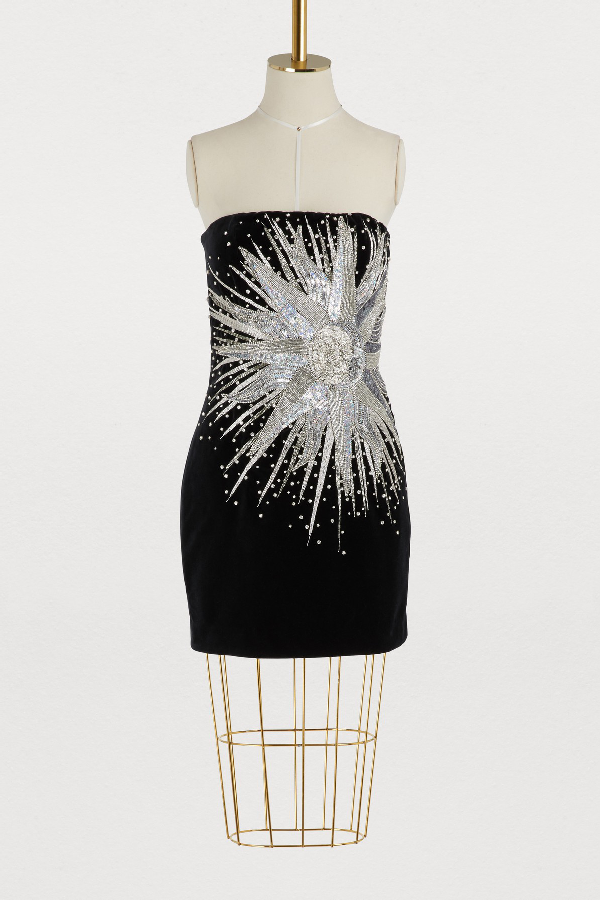 c087f098 Balmain Strapless Embellished Cotton-Velvet Mini Dress In Black ...