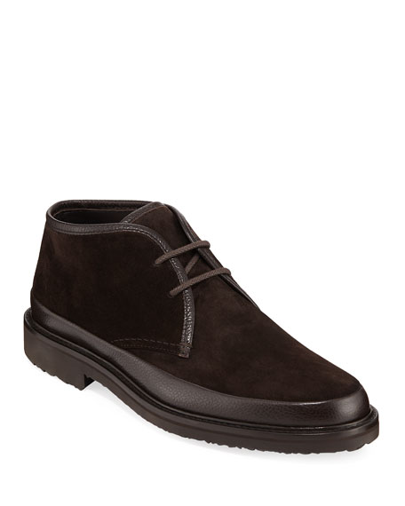 d0d9ca51 Men's Trivero Leather-Trimmed Suede Chukka Boots in Brown
