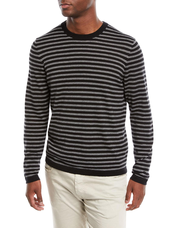 13a179b26 Neiman Marcus Men's Cashmere-Silk Striped Long-Sleeve T-Shirt In Black/