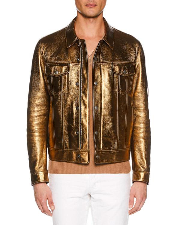 77cf3f02fdb Tom Ford Men s Metallic Leather Jean Jacket In Bronze
