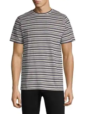 A.P.C. Striped Cotton T-Shirt In Marine