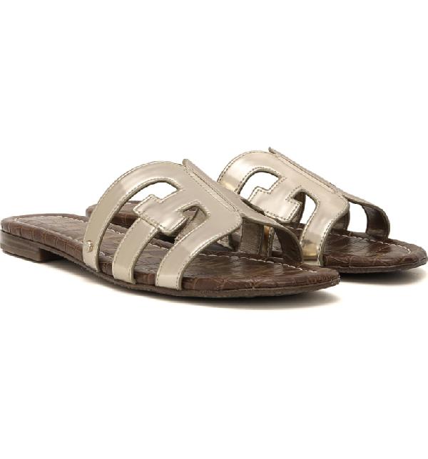 3275079e2e46 Sam Edelman Women s Bay Metallic Patent Leather Sandals In Molten Gold  Leather