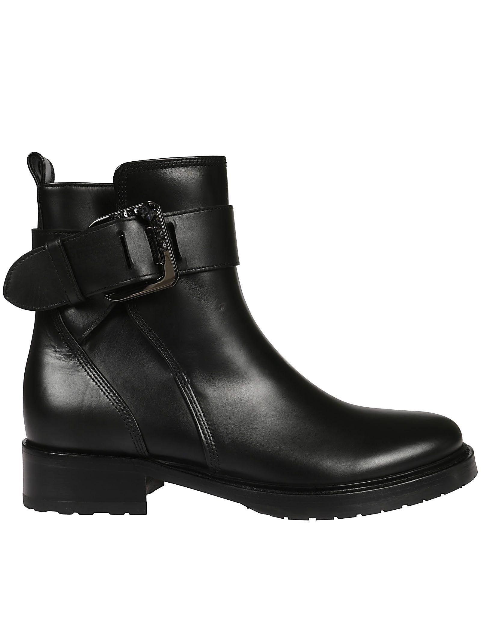 Lanvin Embellished Buckle Ankle Boots In Black