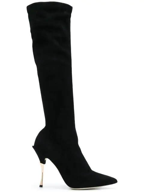 Dolce & Gabbana Cardinale Over-The-Knee Sock Boots 105 In Black