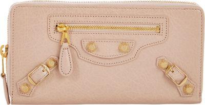 Balenciaga Metallic Edge Zip-Around Continental Wallet - Beige, Tan