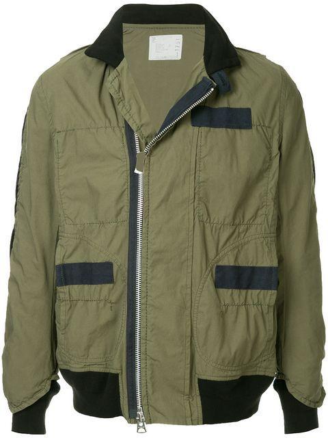 Sacai Panelled Field Jacket - Green