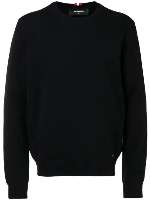 Dsquared2 Wool Blend Knit Sweater W/ T-Shirt In Black