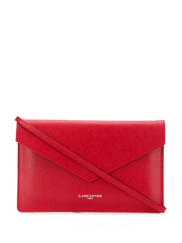 Lancaster Adeline Saffiano Leather Flap Clutch W/shoulder Strap In Red