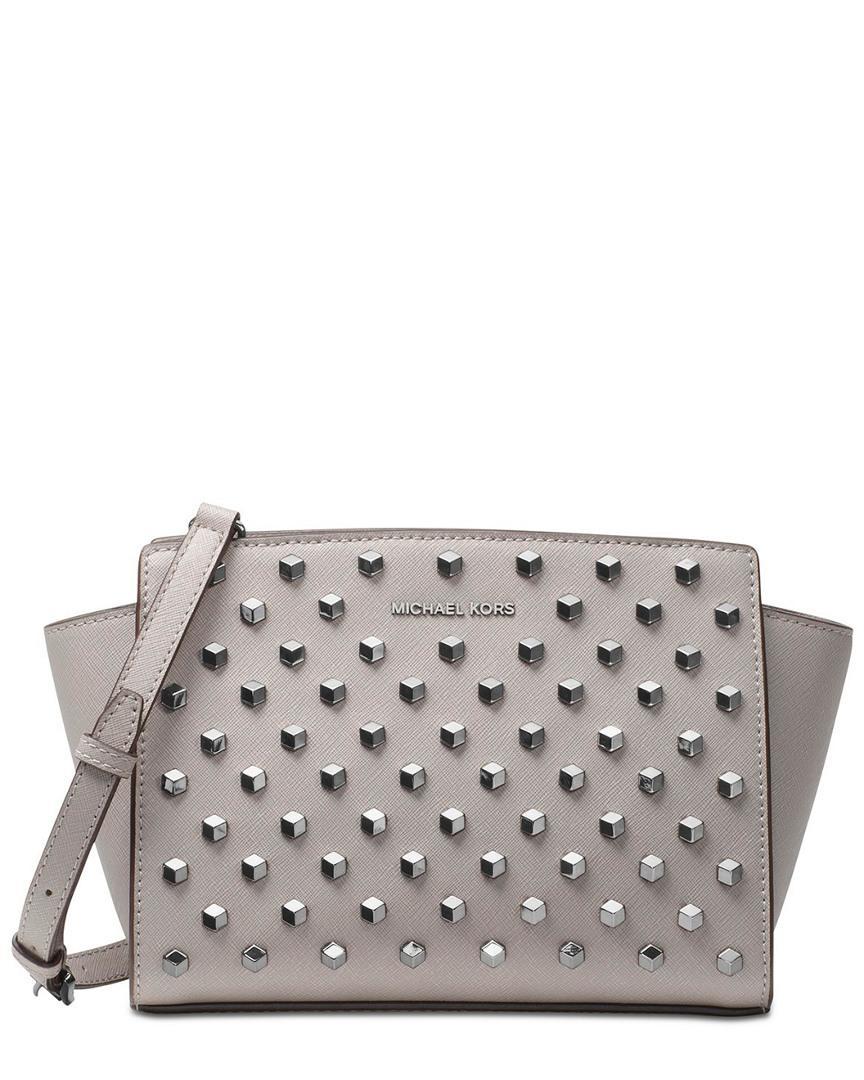 e2df8280cc3f Michael Michael Kors Selma Studded Medium Leather Messenger Bag In Nocolor