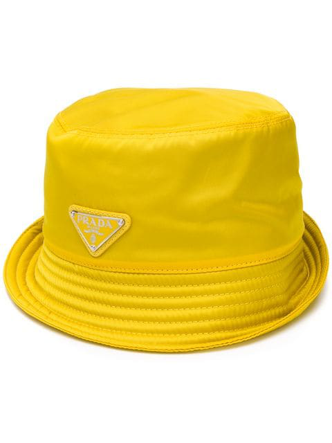 b4237ff2 Prada Logo Plaque Rain Hat In Yellow | ModeSens