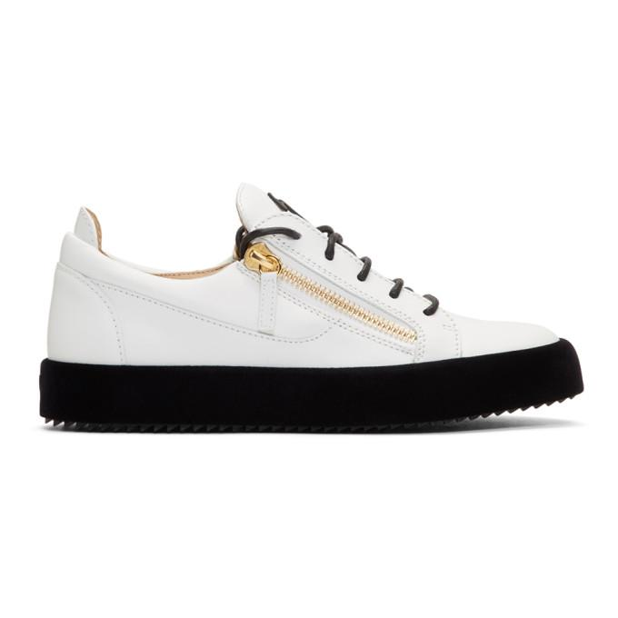 54a33f0860bf1 Giuseppe Zanotti White Velvet Sole May London Sneakers In Birel Bianc
