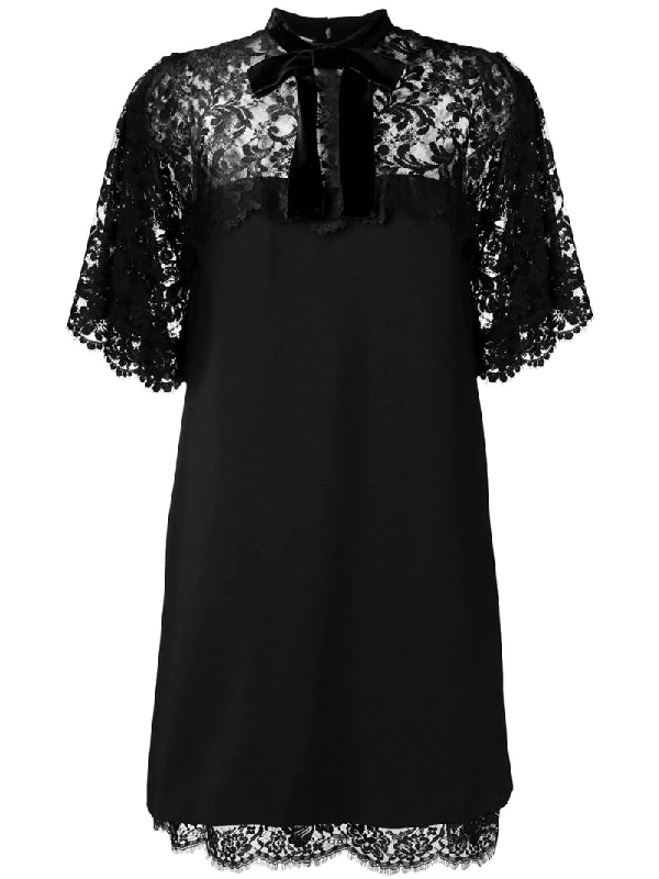 Gucci A-Line Stretch-Jersey Dress With Floral-Lace Top & Hem In Black