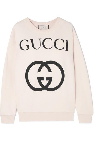 737688b79900 Gucci Heavy Felted Cotton Jersey Oversized Sweatshirt W  Interlock Gg Print  In Ivory
