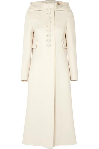 7daca917c Gucci Gardenia Long Hooded Wool Coat, White Pattern   ModeSens