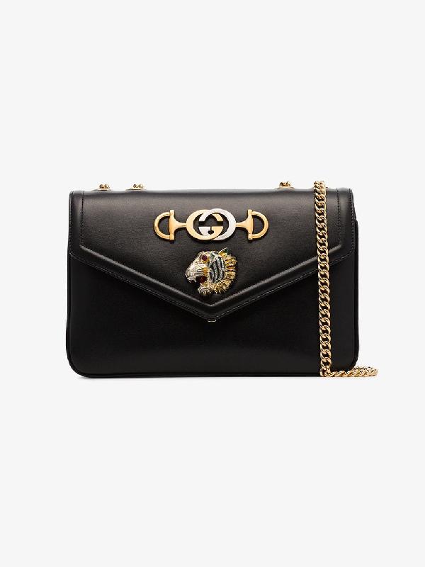 06d28158b1847 Gucci Rajah Medium Black Leather Shoulder Bag