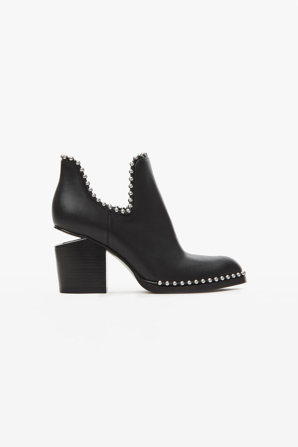 Alexander Wang Women's Gabi Pointed Toe Studded Leather High-Heel Ankle Boots In Black