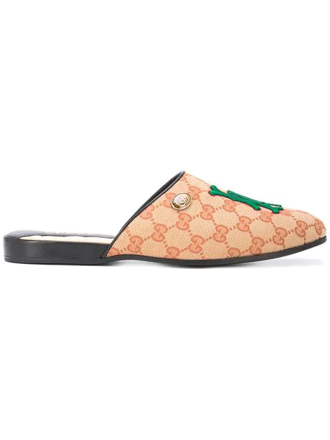Gucci Original Gg Slipper With La Angels&Trade; Patch In Brown