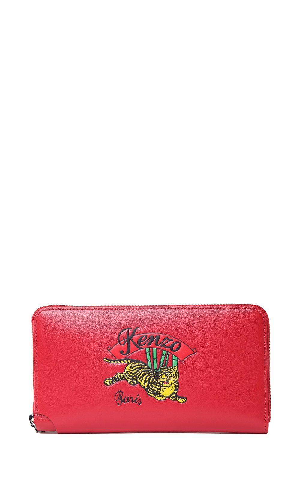 8f4f8396e61 Kenzo Jumping Tiger Leather Wallet In Rosso | ModeSens