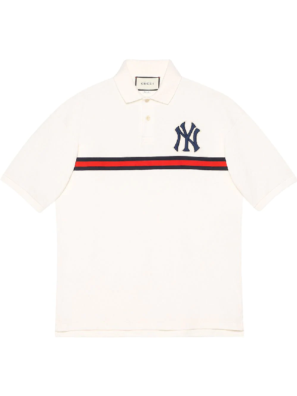 06efc858 Gucci Men's Ny Yankees Mlb Polo Shirt With Logo Applique In White ...