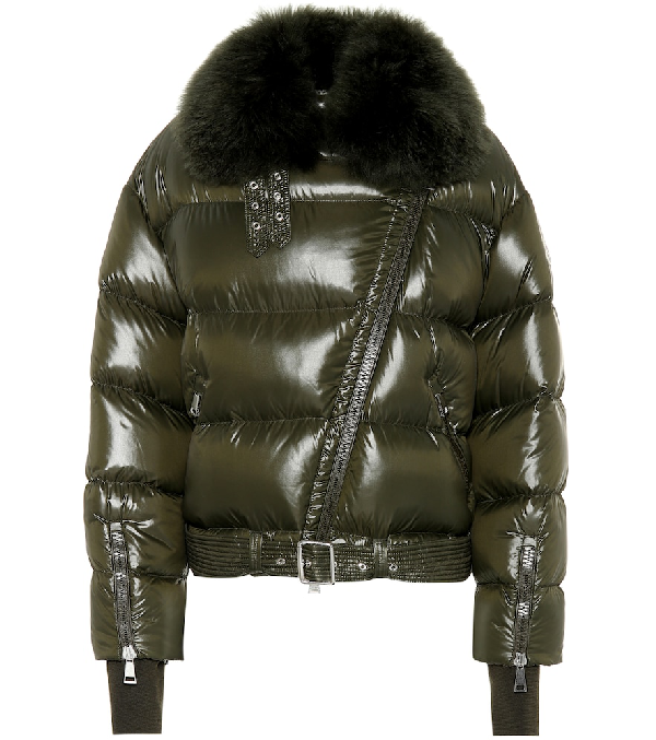 6e7f3c659d3 Moncler Foulque Fur-Trimmed Down Jacket In Green