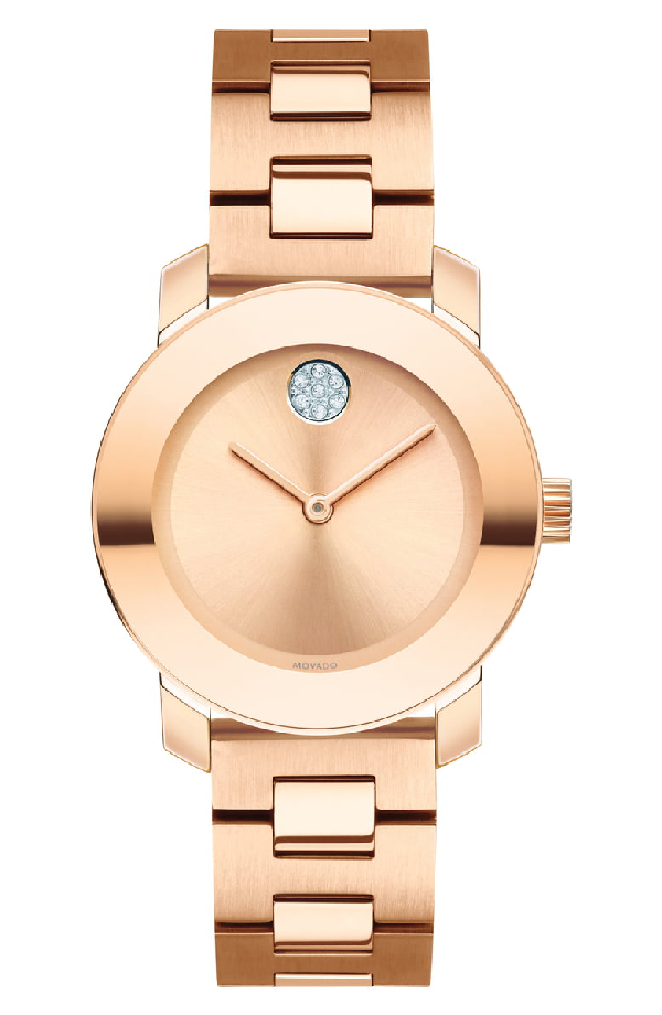 Movado Bold Rose Goldplated Stainless Steel Bracelet Watch
