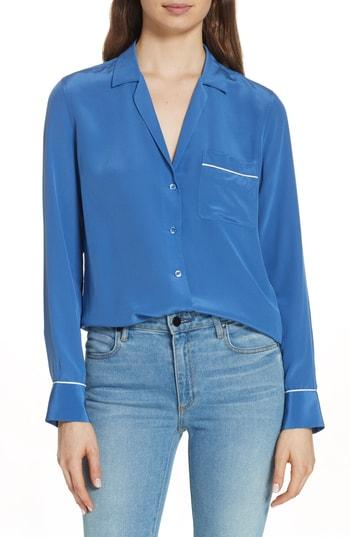 28413167e16084 Equipment Keira Piped Silk Shirt In Letterman Blue