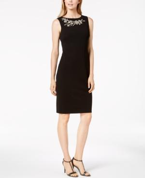 Calvin Klein Rhinestone-Embellished Sheath Dress, Regular & Petite In Black
