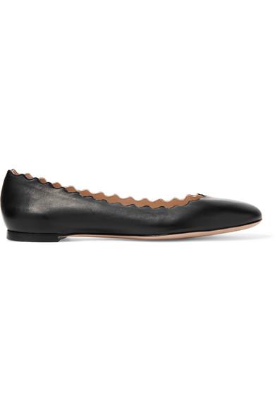 bef535d3540 ChloÉ Lauren Scalloped Leather Ballet Flats
