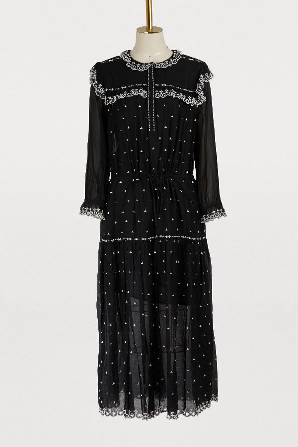 e39851e1a66 Etoile Isabel Marant Eina Embroidered Cotton Voile Dress In Black ...