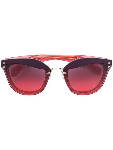 8bd0cb1dae74 Miu Miu Eyewear Glitter Cat-Eye Sunglasses - Red | ModeSens